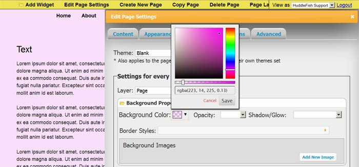 Setting the background color for the page layer