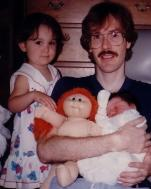 Randy Ingermanson with his daughters Carolyn and Gracie in the early 1990s.